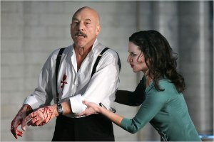 Patrick Stewart's wonderful MacBeth, which was endless, but I did NOT want to leave (NYT photo)